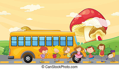 Students playing near the school bus - Illustration of the...
