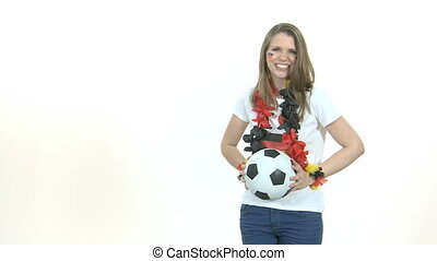 Throw-in - Attractive Girl throws soccer ball
