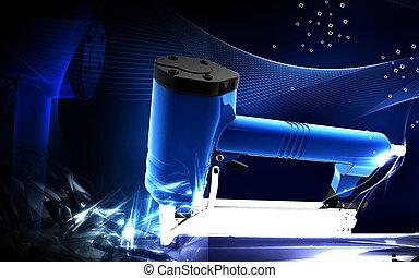 Air stapler - Digital illustration of n colour Air stapler...