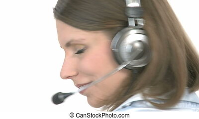 Callcenter Agent smiles - Callcenter Agent turns around and...