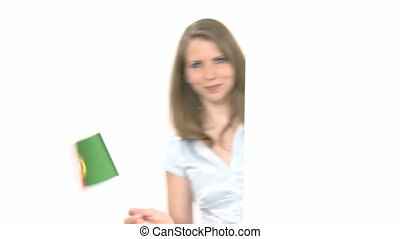 Woman shows Flag with Copyspace - Attractive woman shows and...