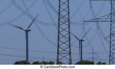 Wind Turbine and Power Lines - Timelapse of Wind Turbines...