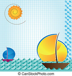 sea and boat beckground on arithmetic exercise book