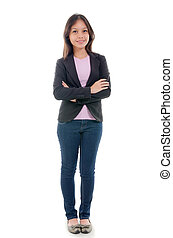 malay young college girl with casual wear and isolated white...
