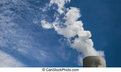 Cooling Tower with steam - Timelapse of a huge cooling tower...