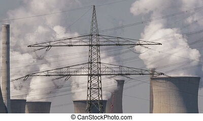 Power plant with powerlines - Timelapse of brown coal power...