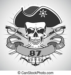 Skull pirate - Vector image of Skull pirate