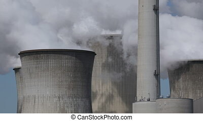 Power plant with huge cooling towers - Brown coal power...