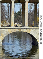Lazienki bridges - Small bridge in Lazienki Royal park in...