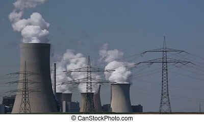 Power plant with electric towers - Brown coal power plant...