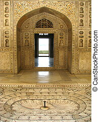 India: Agra Red Fort, Unesco World Heritage site. - Agra,...