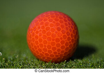 Red golf ball on the grass