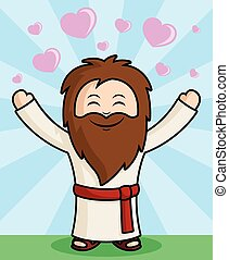 Cute Jesus Character spreading the