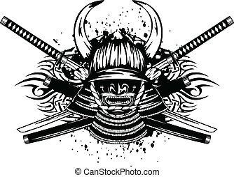 samurai helmet and crossed katana a - Vector illustration...