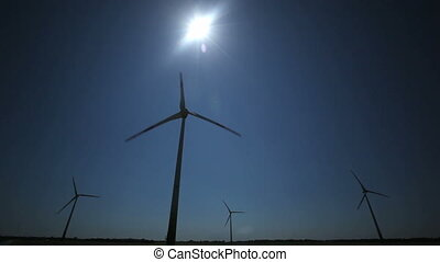 Wind Turbine blue sky - Wind Turbine with blue sky and the...