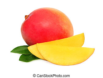 One whole mango and slices with green leaves (isolated) -...