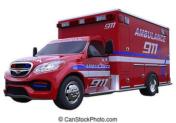 Emergency: ambulance vehicle isolated on white