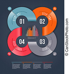 Abstract infographics design with numbered paper elements -...