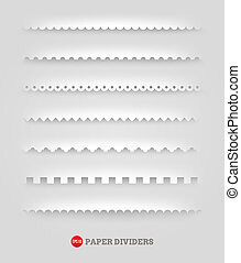 Set of paper decorative dividers - Vector set of paper...