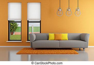 Minimalist orange  living room