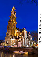 Westerkerk night - Beautiful view on the Westerkerk church...