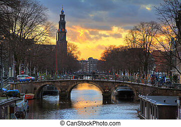 Westerkerk sunset bridge - Beautiful view on the Westerkerk...