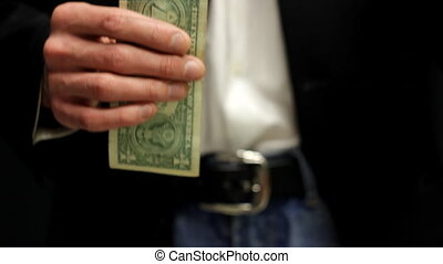 Businessman Hangs Up Two Dollars - Corrupt business man...