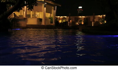 Pool and Bar - Water Surface of a Swimming Pool at night...
