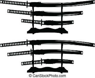 katana, wakizashi and tanto - Vector illustration katana,...