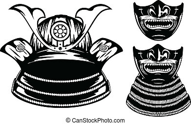 samurai helmet menpo with yodare-kake - Vector illustration...