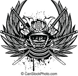 Vector illustration samurai helmet, menpo with yodare-kake, crossed katana and wings