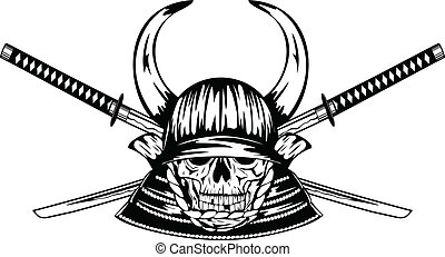 skull in samurai helmet with horns and samurai swords -...