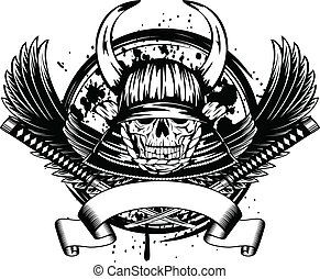 skull in samurai helmet with horns and wings - Vector...