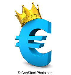 Euro Golden Crown - Blue euro symbol with golden crown White...