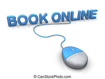 Book Online Mouse - PC-Mouse with blue text book online....