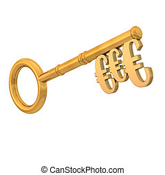 Golden Key Euros - Golden key with three euros on the white...