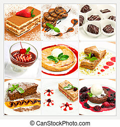 Collage with different sweet dessert