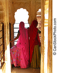 Jodhpur, India:, colorful, sarees, women, Rajasthan,...