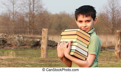 happy boy with book