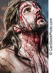 calvary jesus, man bleeding, representation of passion with...