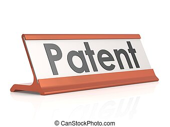 Patent table tag - Rendered artwork with white background