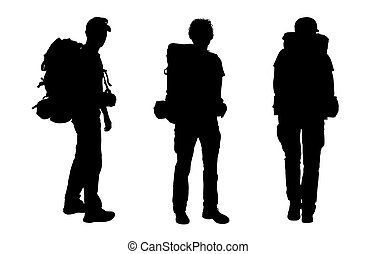 set of male backpacker silhouettes - 3 black silhouettes of...
