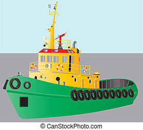 Tug Boat - A detailed illustration of a Green and Yellow...