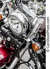 Closeup of a big chromium motorcycle engine, shiny chrome...