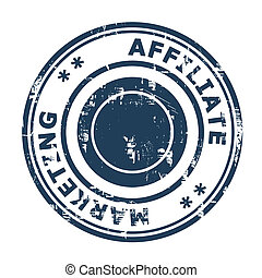 Affiliate marketing concept stamp isolated on a white...