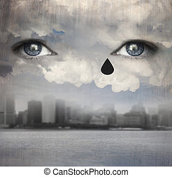 Raining tears - Surreal background representing two human...