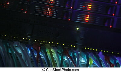 Server Rack blue toned - Server Rack and Network Hub cables...