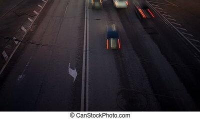 Car traffic at night Time lapse with panning High angle shot...