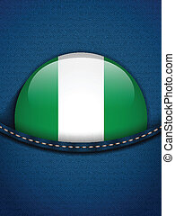 Nigeria Flag Button in Jeans Pocket - Vector - Nigeria Flag...