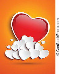 Mother Day Heart Clouds on Orange Background - Vector -...
